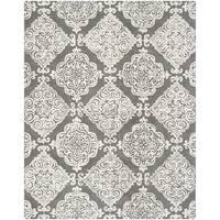 Safavieh Handmade Glamour Contemporary Dark Grey / Ivory Viscose Rug (8' x 10') - 8' x 10'