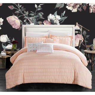 Chic Home Jayrine Coral Ruched Ruffled 10-piece Bed in a Bag Set
