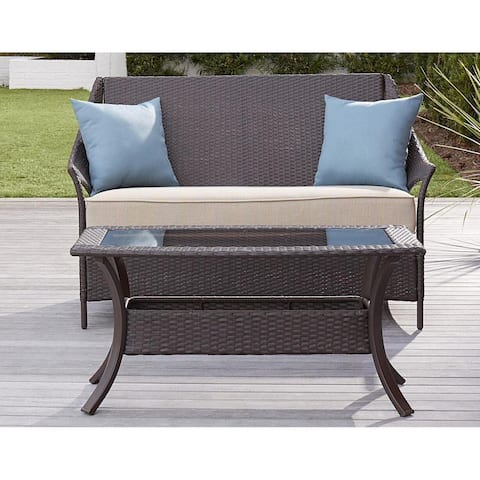Avenue Greene Dark Brown Outdoor Loveseat and Coffee Table