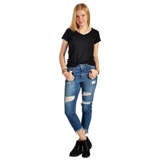 Distressed Ripped Side Floral Embroidery Cutout Ankle Jeans (More options available)