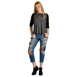 Distressed Ripped Fishnet Mesh Inset Cutout Ankle Jeans (More options available)