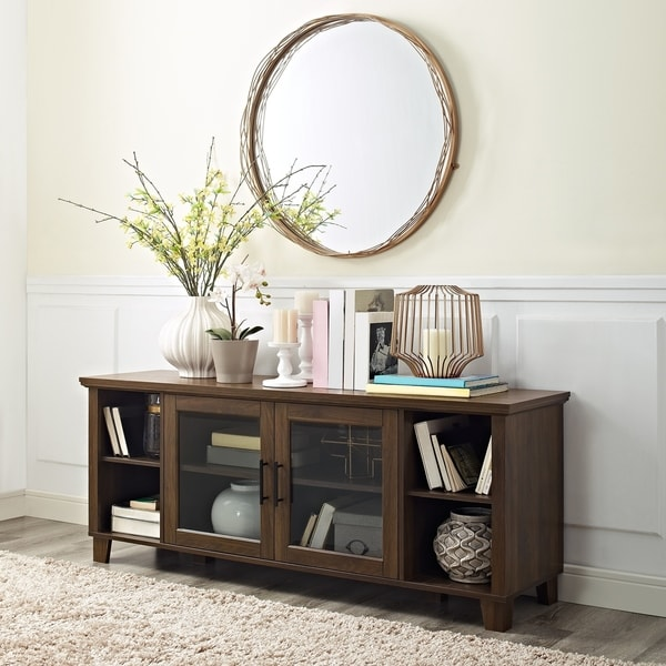 Shop 58 Tv Stand Console With Glass Doors On Sale Free Shipping
