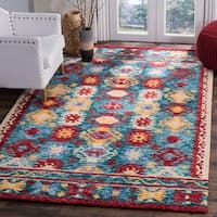 Safavieh Handmade Aspen Contemporary Blue / Red Wool Rug (2' x 3') - 2' x 3'