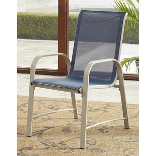 Avenue Greene Grey/ Navy Outdoor Patio Dining Chairs, 6 Pack
