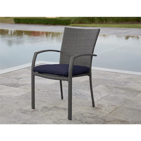 Avenue Greene Grey/ Blue Outdoor Woven Wicker Dining Chairs, 6 Pack