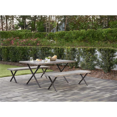 Avenue Greene Dark Brown 3-Piece Table and Bench set