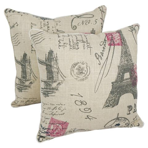 Blazing Needles 17-inch Euro Throw Pillow (Set of 2)