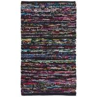 Safavieh Hand-Woven Rag Rug Casual Black / Red Cotton Rug - 2'6' x 4'