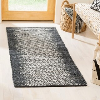 """Safavieh Hand-Woven Vintage Leather Contemporary Grey / Cream Leather Rug - 2'3"""" x 4'"""