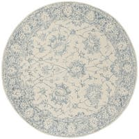 Safavieh Handmade Blossom Contemporary Ivory / Blue Wool Rug (6' x 6' Round) - 6' x 6' Round