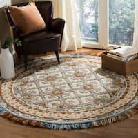 Safavieh Handmade Blossom Contemporary Ivory / Blue Wool Rug - 6' Round