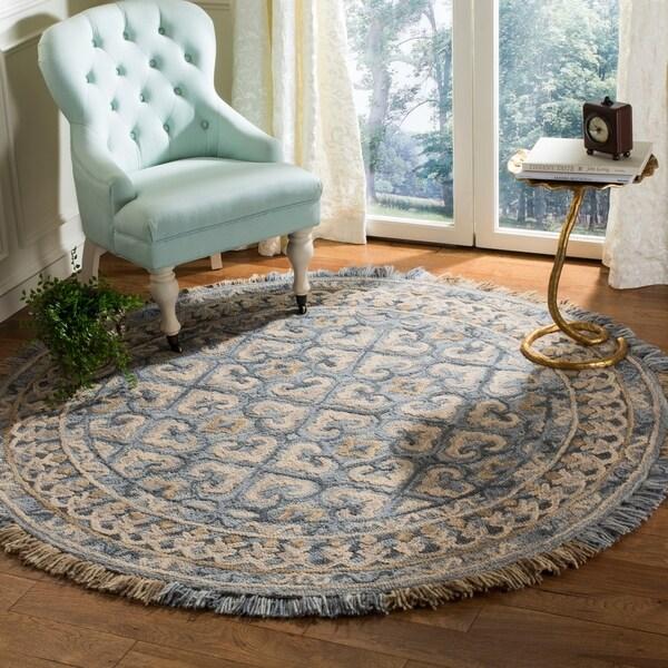 Safavieh Handmade Blossom Contemporary Beige / Light Blue Wool Rug - 6' Round