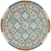 Safavieh Handmade Blossom Contemporary Ivory / Teal Wool Rug (6' x 6' Round) - 6' x 6' Round