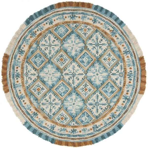 Safavieh Handmade Blossom Contemporary Ivory / Teal Wool Rug (6' x 6' Round) - 6' x 6' Round