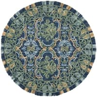 Safavieh Handmade Blossom Contemporary Navy / Green Wool Rug (6' x 6' Round)