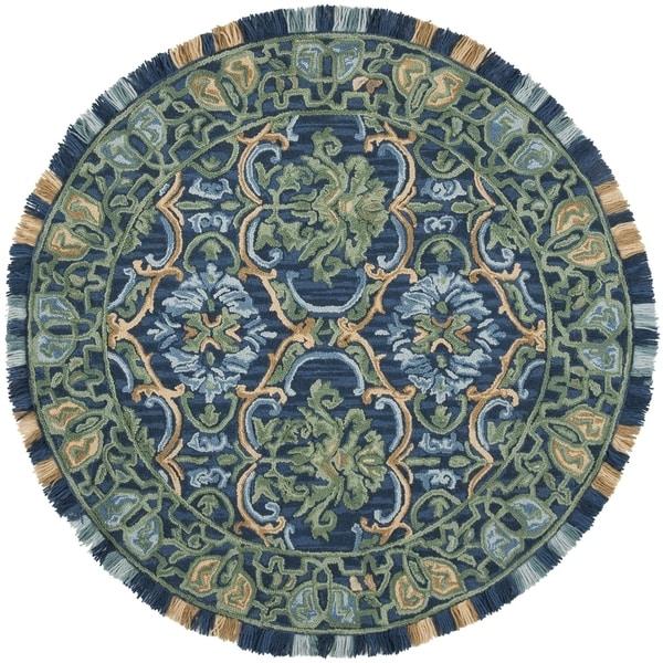 Safavieh Handmade Blossom Contemporary Navy / Green Wool Rug (6' x 6' Round)