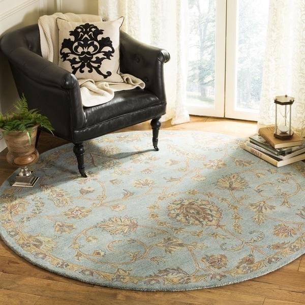 Safavieh Handmade Heritage Traditional Light Blue / Multi Wool Rug (6' x 6' Round) - 6' x 6' Round