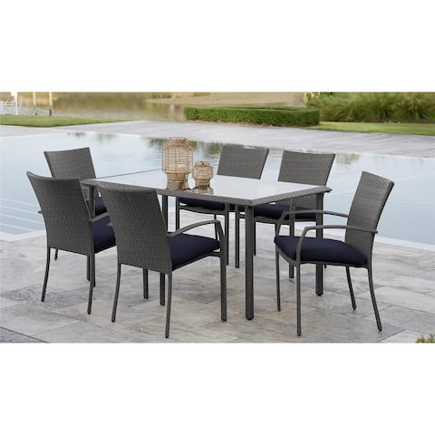 Avenue Greene Grey/ Blue 7-Piece Outdoor Woven Wicker Dining Set