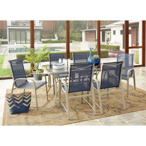 Avenue Greene Grey/ Navy 7-Piece Outdoor Patio Dining Set