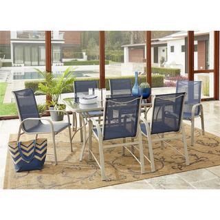 Avenue Greene Grey/ Navy 7-Piece Outdoor Patio Dining Set