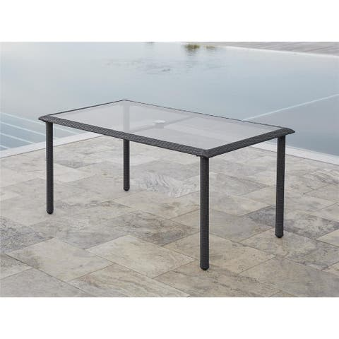 Avenue Greene Grey Outdoor Woven Wicker Dining Table