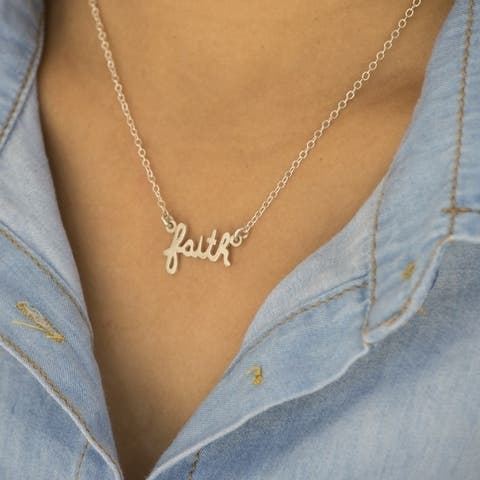 TwoBirch Script faith Necklace with Chain in Sterling Silver 18 Inches Long - White