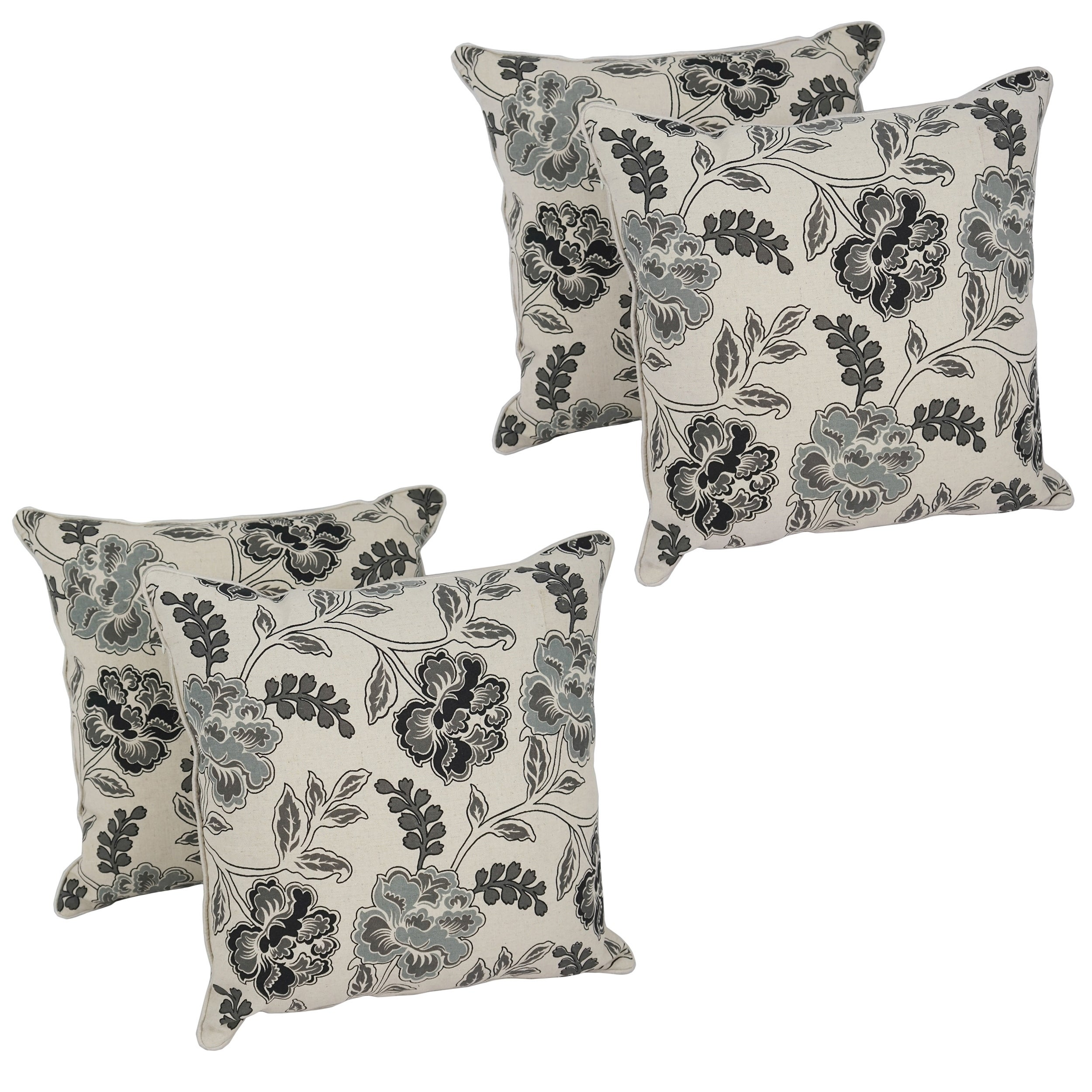 Blazing Needles 17-inch Victoria Throw Pillow (Set of 4) (Square - Polyester/Linen)