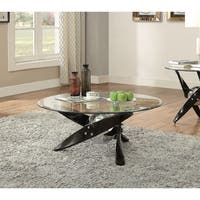 Acme Hagelin Glass Coffee Table in Black and Chrome
