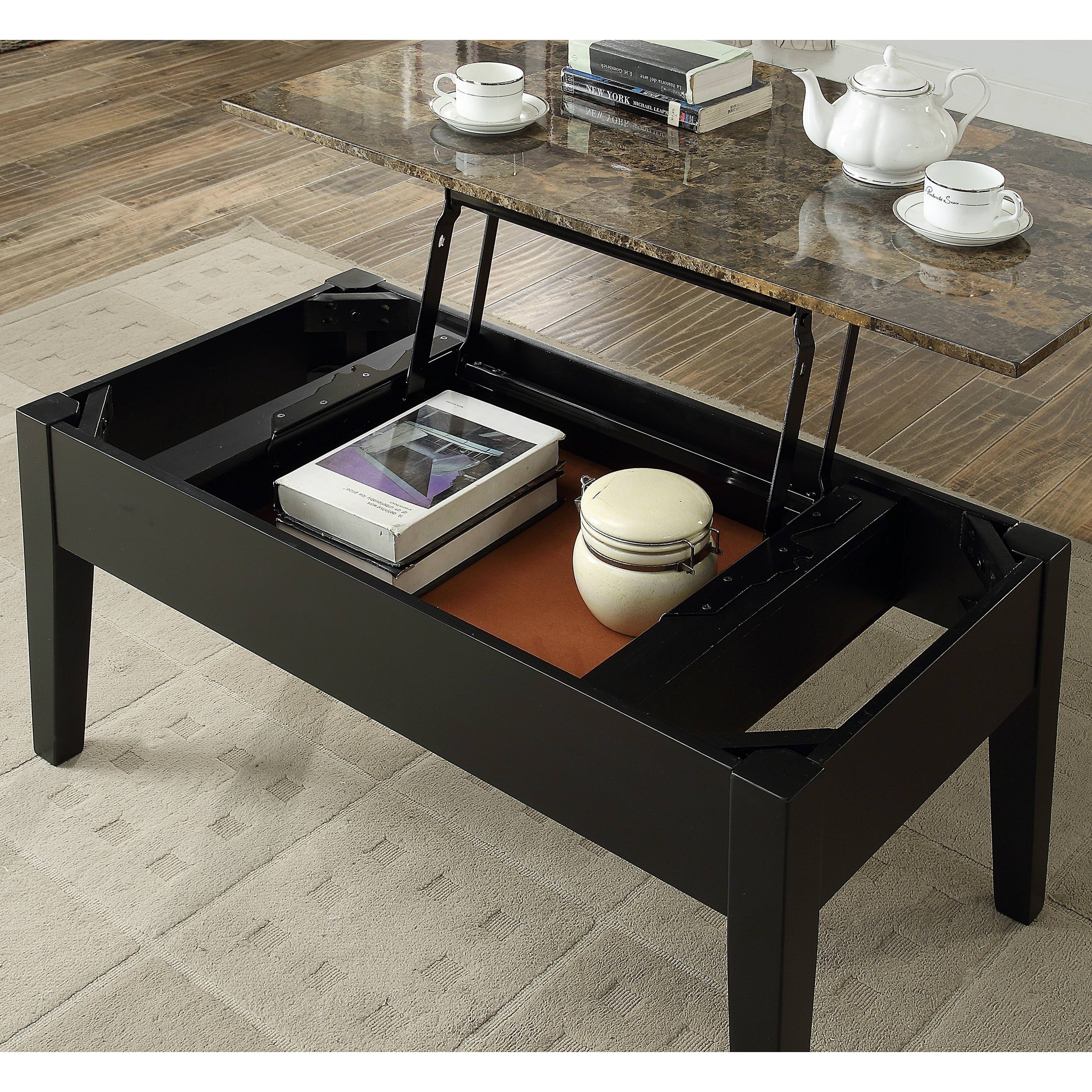 Acme Celestial Faux Marble Lift Top Coffee Table In Black