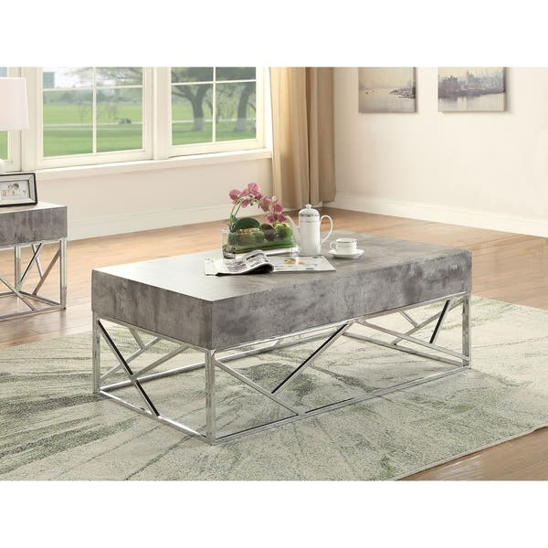 Wondrous Acme Burgo Faux Marble Coffee Table In Chrome Ncnpc Chair Design For Home Ncnpcorg