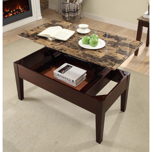 Lift Top Coffee Table Cherry: Shop Acme Celestial Faux Marble Lift Top Coffee Table In