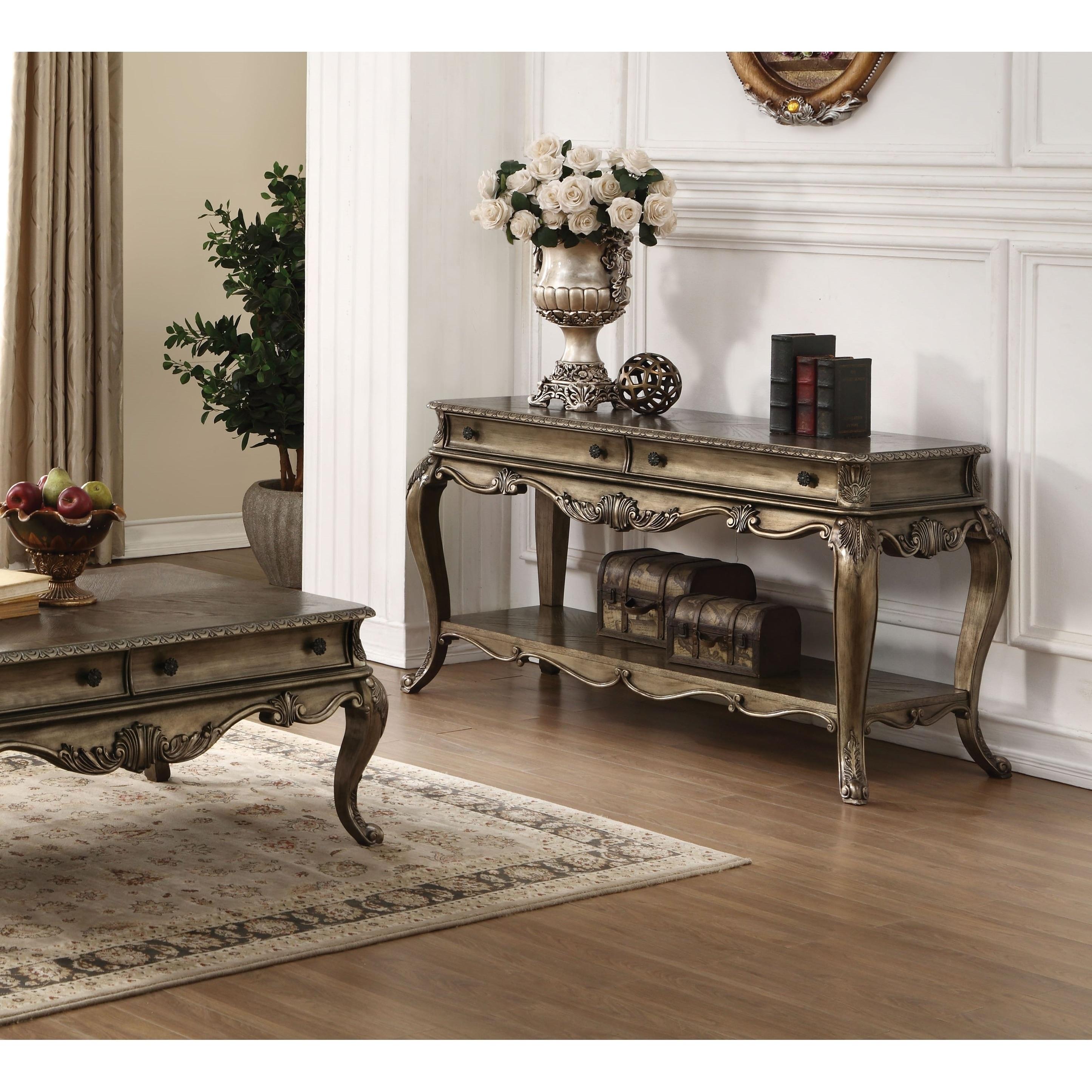 Remarkable Acme Ragenardus Victorian Sofa Table In Vintage Oak Download Free Architecture Designs Oxytwazosbritishbridgeorg