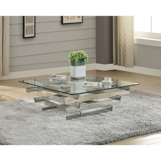 Acme Salonius Glass Coffee Table in Stainless Steel