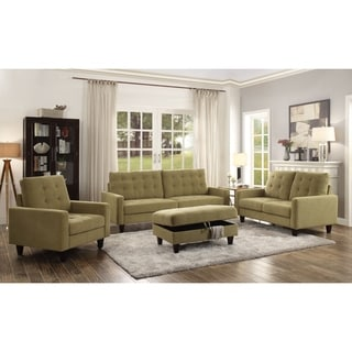Acme Nate Memory Foam Sofa With Tufting In Mustard Fabric