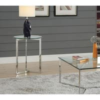 Acme Volusius Glass End Table in Stainless Steel
