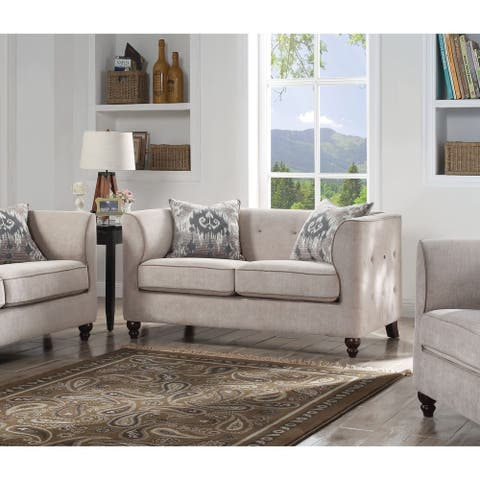 Acme Cyndi Button Tufted Loveseat in Light Gray Fabric