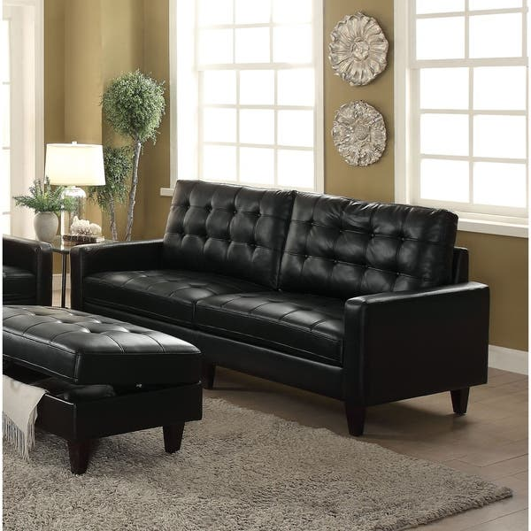 Remarkable Shop Acme Adley Memory Foam Sofa In Black Leather Gel Free Gmtry Best Dining Table And Chair Ideas Images Gmtryco