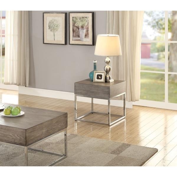 Acme Cecil II Gray Oak End Table with Chrome Base