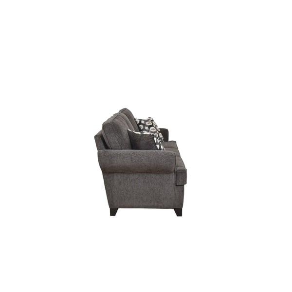 Acme Alessia Dark Gray Chenille Sofa With 2 Pillows