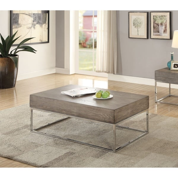 Shop Acme Cecil II Gray Oak Coffee Table With Chrome Base