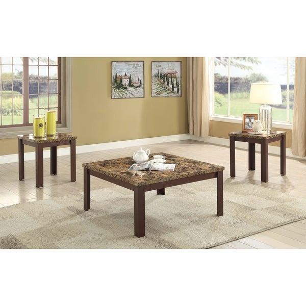 Shop Acme Finely 3 Piece Faux Marble Coffee And End Table