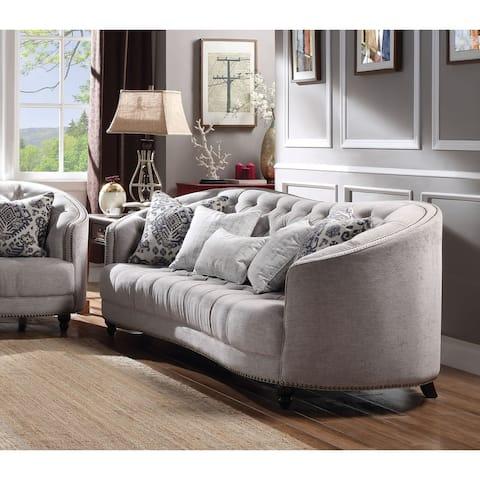 Acme Saira Down Feather Sofa in Light Gray Fabric