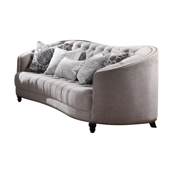 Acme Saira Down Feather Sofa In Light Gray Fabric