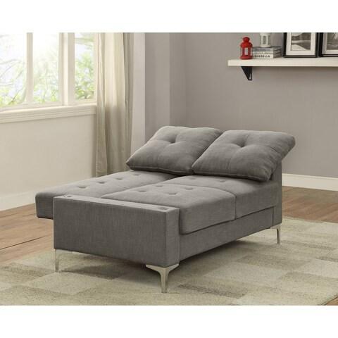 Acme Dorian Adjustable Futon Loveseat Sleeper in Gray Linen