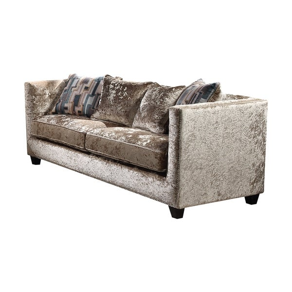 Delightful Acme Juliana Down Feather Sofa With 4 Pillows In Champagne Fabric