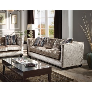 Acme Juliana Down Feather Sofa With 4 Pillows In Champagne Fabric