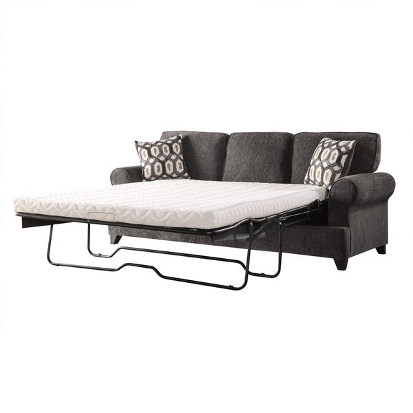 Acme Alessia Sofa Sleeper With 2 Pillows In Dark Gray Chenille