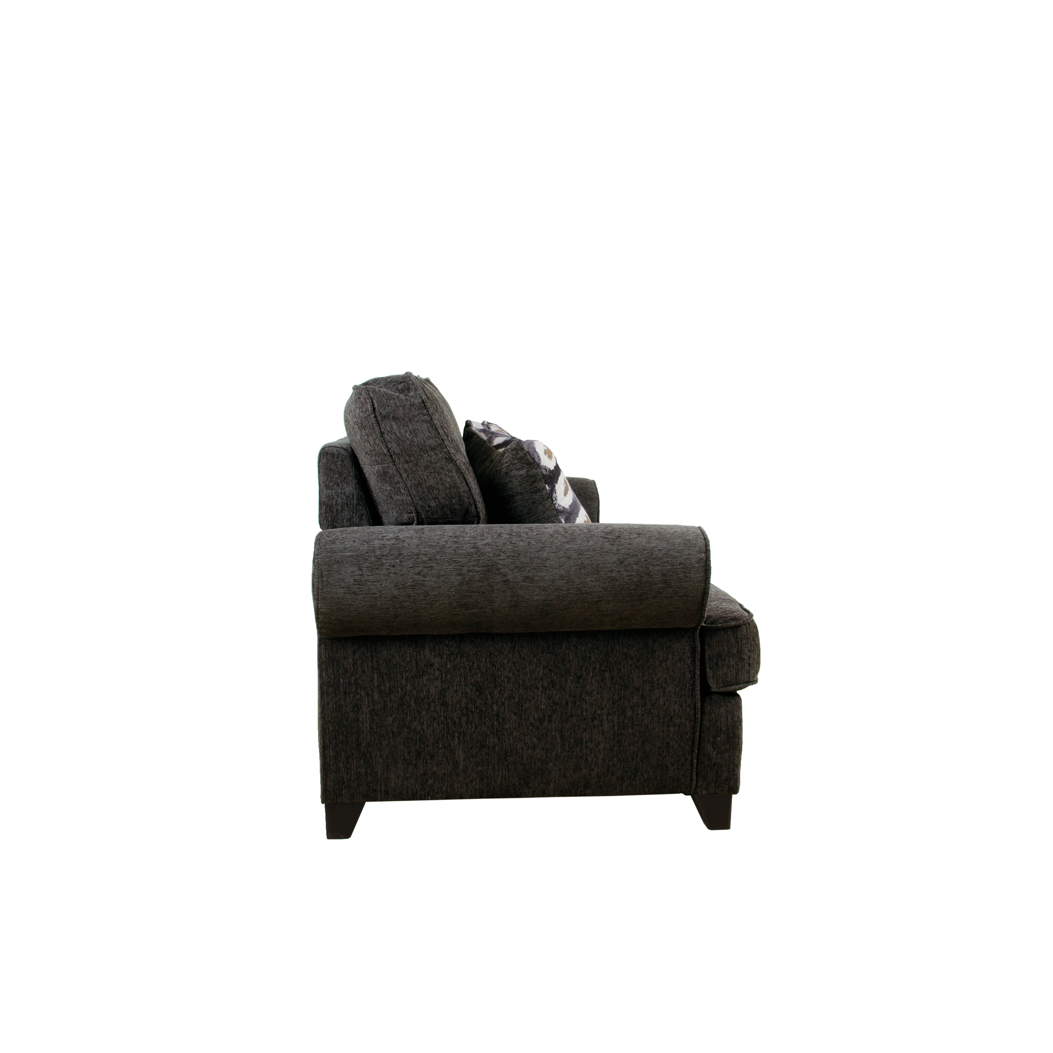 Amazing Acme Alessia Loveseat Sleeper With 2 Pillows In Dark Gray Chenille Pabps2019 Chair Design Images Pabps2019Com