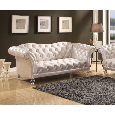 Acme Dixie Metallic Silver Fabric Tufted Loveseat with Acrylic Legs