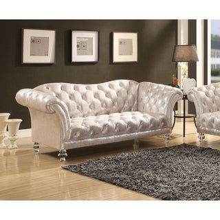 Link to Acme Dixie Metallic Silver Fabric Tufted Loveseat with Acrylic Legs Similar Items in Living Room Furniture